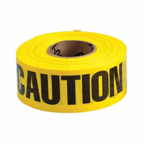 Brady® 91100 Barricade Tape, CAUTION, 500 ft L x 3 in W, Yellow/Black, Reinforced Polyethylene