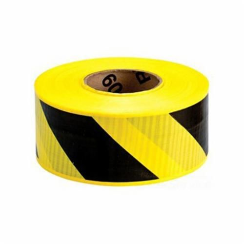 Brady® 91104 Barricade Tape, Diagonal Warning Stripes, 500 ft L x 3 in W, Yellow/Black, Reinforced Polyethylene