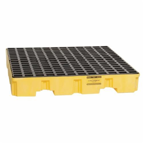 Eagle Manufacturing 1645 Low Profile Spill Containment Pallet, 4 Drums, 8000 lb Load, 66 gal Spill, 8 in H, Yellow/Black