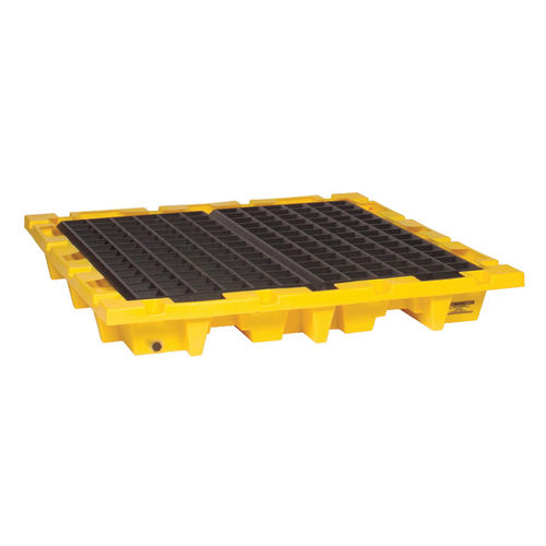 Eagle Manufacturing 1646 Nestable Spill Containment Pallet With Drain, 4 Drums, 6000 lb Load, 66 gal Spill, 7-3/4 in H