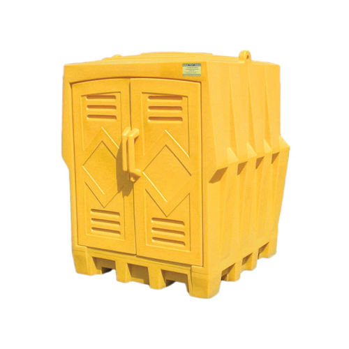 Eagle Manufacturing 1649 Storage Building, 4 Drums, 8000 lb Load, 66 gal Spill, 72 in H, Yellow