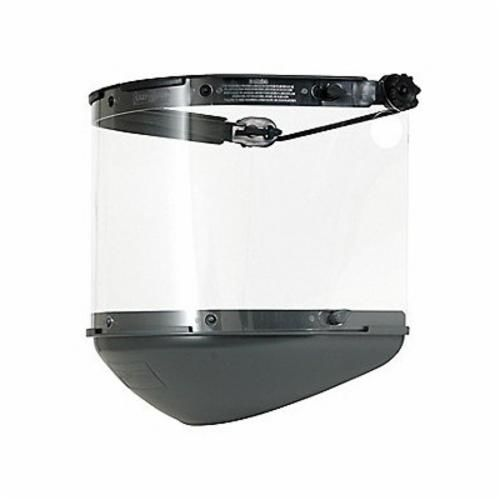 Fibre-Metal® by Honeywell FM70DCCL Dual Crown Faceshield, Black, Noryl, 4 in H X
