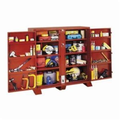 Jobox® 1-695990 4-Door Heavy Duty Jobsite Storage Cabinet, 60-3/4 in x 32-1/4 in W x 60.13 in D, 63.7 cu-ft Storage