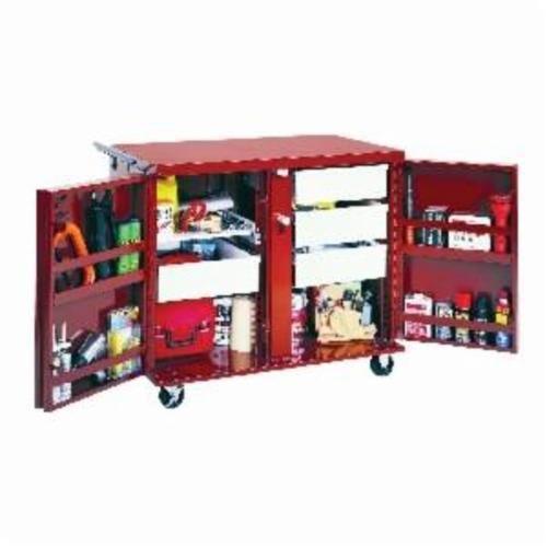 Jobox® 678990 Rolling Work Bench, 43.88 in L x 26.88 in W x 40.63 in H, 24.6 cu-ft Load, Steel, Brown