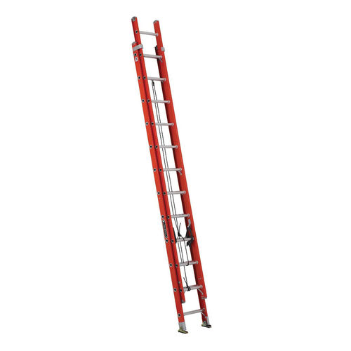 Louisville® FE3224 Multi-Section Extension Ladder, 148 in OAL, 300 lb Load, 12 in Adjustable Increments, Fiberglass