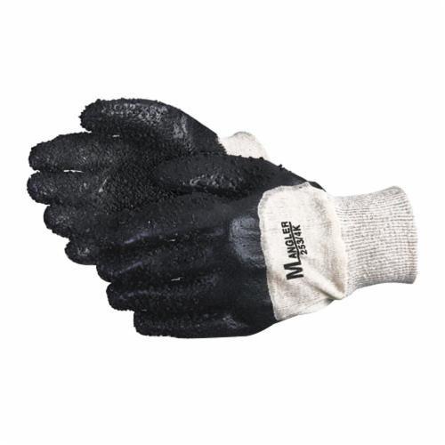 Mangler 253/4K Mangler Chemical-Resistant Gloves, One Size Fits All, 3/4 PVC Palm, Black