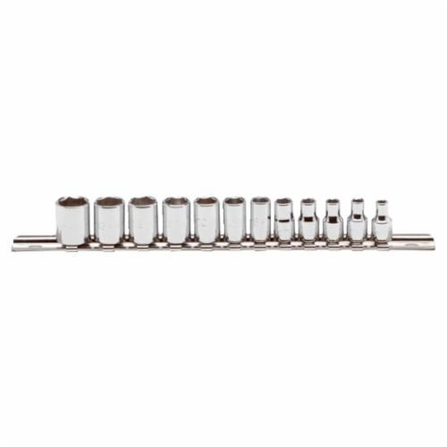 Proto® J47200 Metric Socket Set, 12 Pieces, 1/4 in Drive, 6 Point, Full Polished