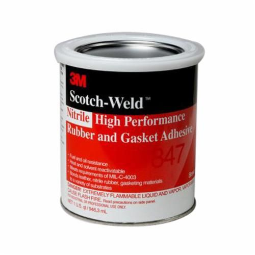 Scotch-Weld™ 847 High Performance Rubber and Gasket Adhesive, 1 qt Can, Liquid, Dark Brown, 0.91