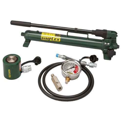 SIMPLEX® ST Low Profile Cylinder Pump Set, 5 Pieces, 10000 psi Pressure, 3/8 in NPT Inlet, 2 Phase, 30 ton Capacity