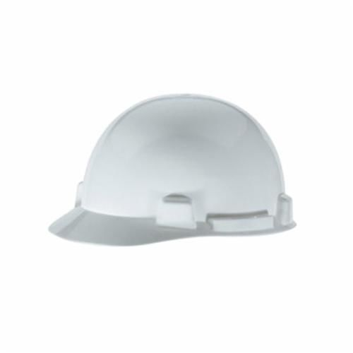 SmoothDome™ 10074067 Front Brim Slotted Hard Hat, 6-1/2 to 8 in, White, 4-Point Ratchet Suspension, Polyethylene, Class E