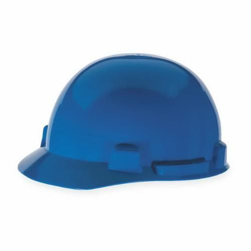 SmoothDome™ 10074068 Front Brim Slotted Hard Hat, 6-1/2 to 8 in, Blue, 4-Point Ratchet Suspension, Polyethylene, Class E