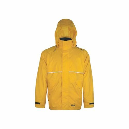 Viking® 5110J-L Rain Jacket, L, 43 in Chest x 33 in L, Men's, Hi-Viz Lime Yellow, 0.45 mm PVC/Polyester