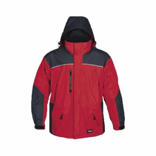 Viking® 838CR-XL Jacket, XL, Red/Charcoal, Hi Tech Polyester/PVC Shell