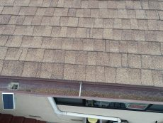 Granules in rain gutter from an older asphalt shingle roof