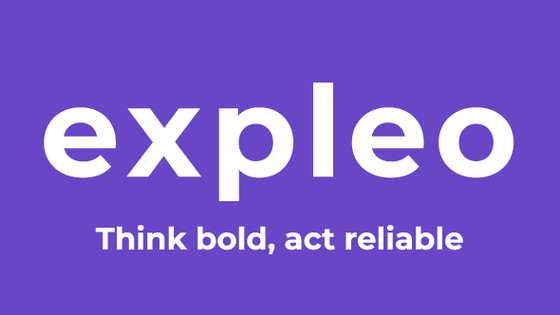 Expleo logo tagline rgb white on purple