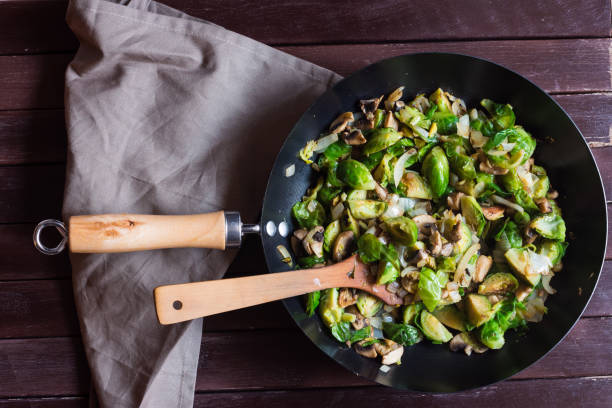 Brussel Sprouts with Bacon, Mushrooms & Garlic