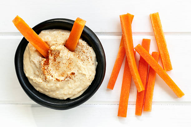 Chickpea Hummus with carrot sticks