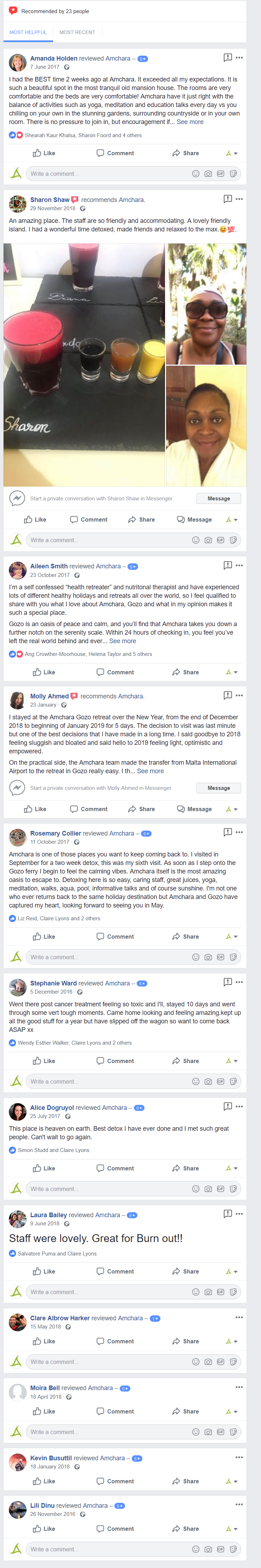 amchara facebook reviews
