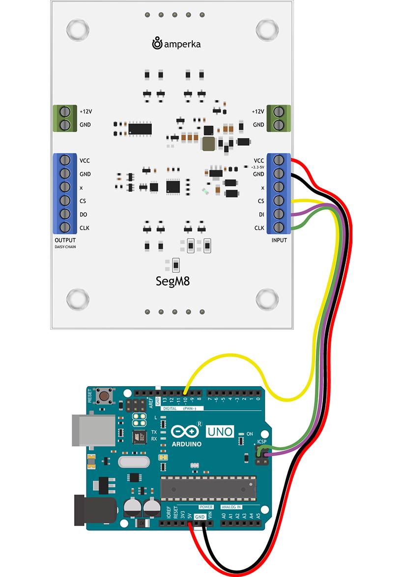 SegM8 connected to Arduino Uno