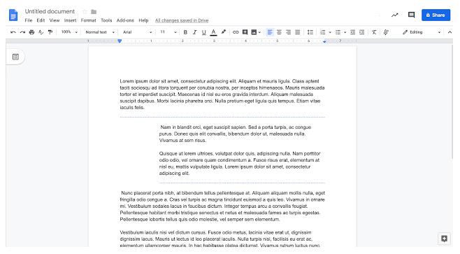 formatting tools in docs
