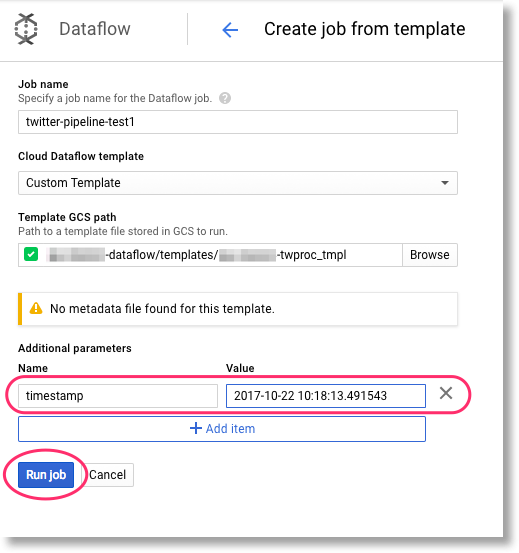 using cloud dataflow pipeline templates from app engine