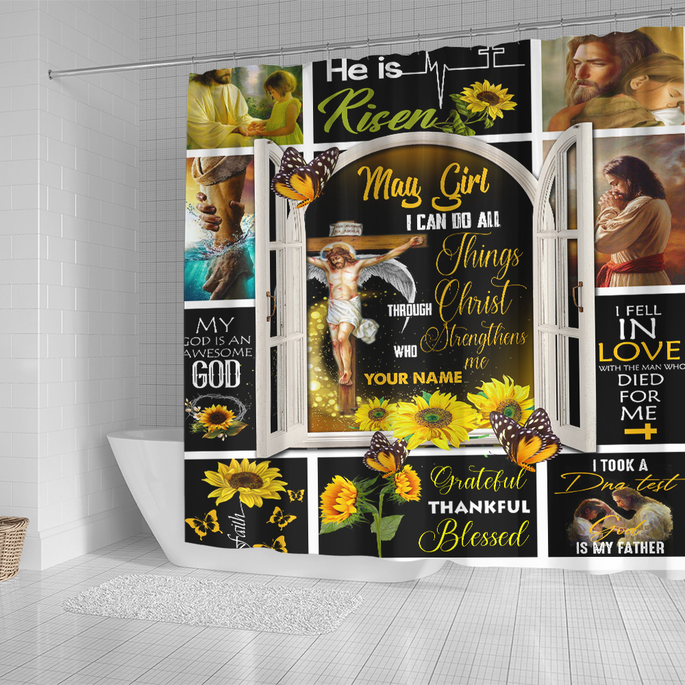 Personalized Shower Curtain May Girl I Can Do All Thing Pattern 1 Set 12 Hooks Decorative Bath Modern Bathroom Accessories Machine Washable