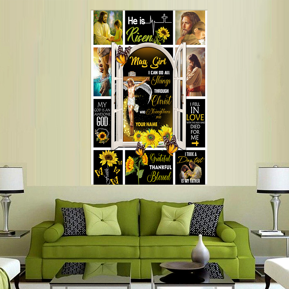 Personalized Wall Art Poster May Girl I Can Do All Thing  Pattern 1 Prints Decoracion Wall Art Picture Living Room Wall