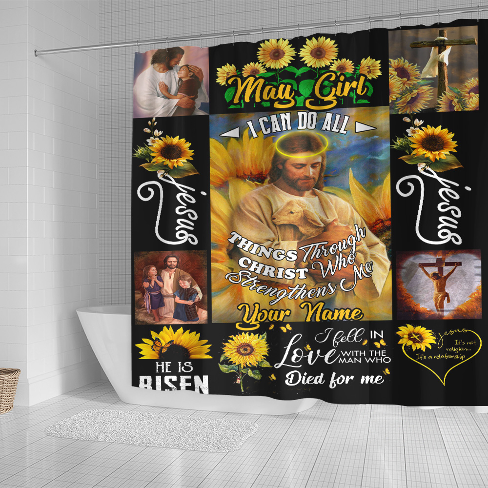 Personalized Shower Curtain May Girl I Can Do All Thing Pattern 2 Set 12 Hooks Decorative Bath Modern Bathroom Accessories Machine Washable