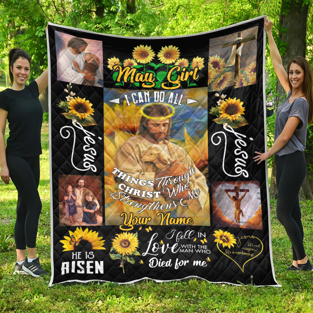 Personalized Quilt Throw Blanket May Girl I Can Do All Thing Pattern 2 Lightweight Super Soft Cozy For Decorative Couch Sofa Bed