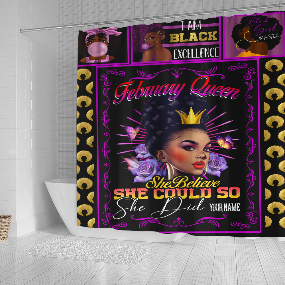 Personalized Shower Curtain February Queen She Believe She Could So She Did Pattern 1 Set 12 Hooks Decorative Bath Modern Bathroom Accessories Machine Washable