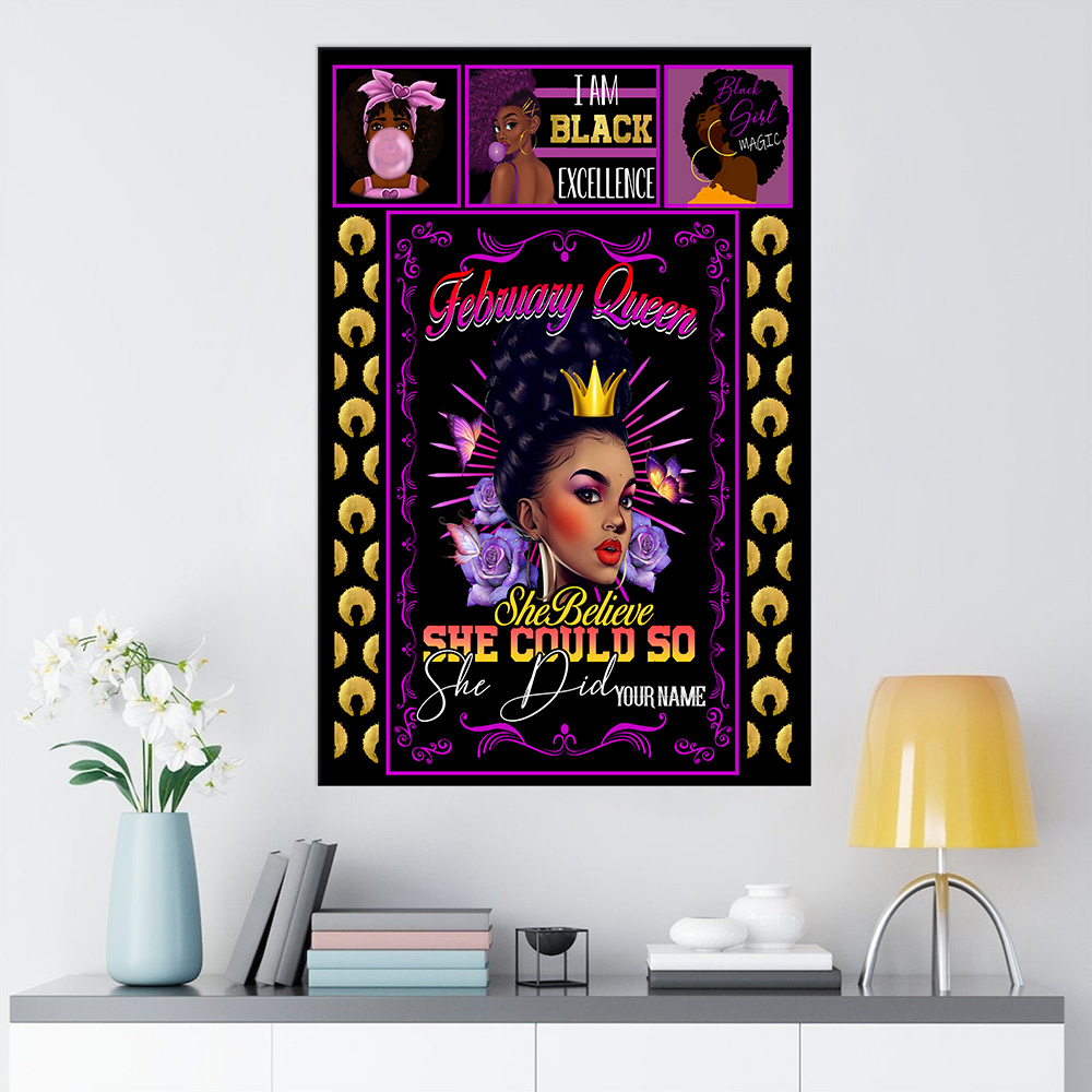 Personalized Wall Art Poster February Queen She Believe She Could So She Did Pattern 1 Prints Decoracion Wall Art Picture Living Room Wall