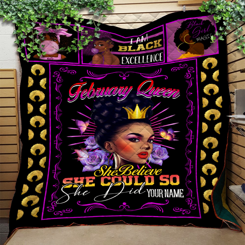 Personalized Quilt Throw Blanket February Queen She Believe She Could So She Did Pattern 1 Lightweight Super Soft Cozy For Decorative Couch Sofa Bed