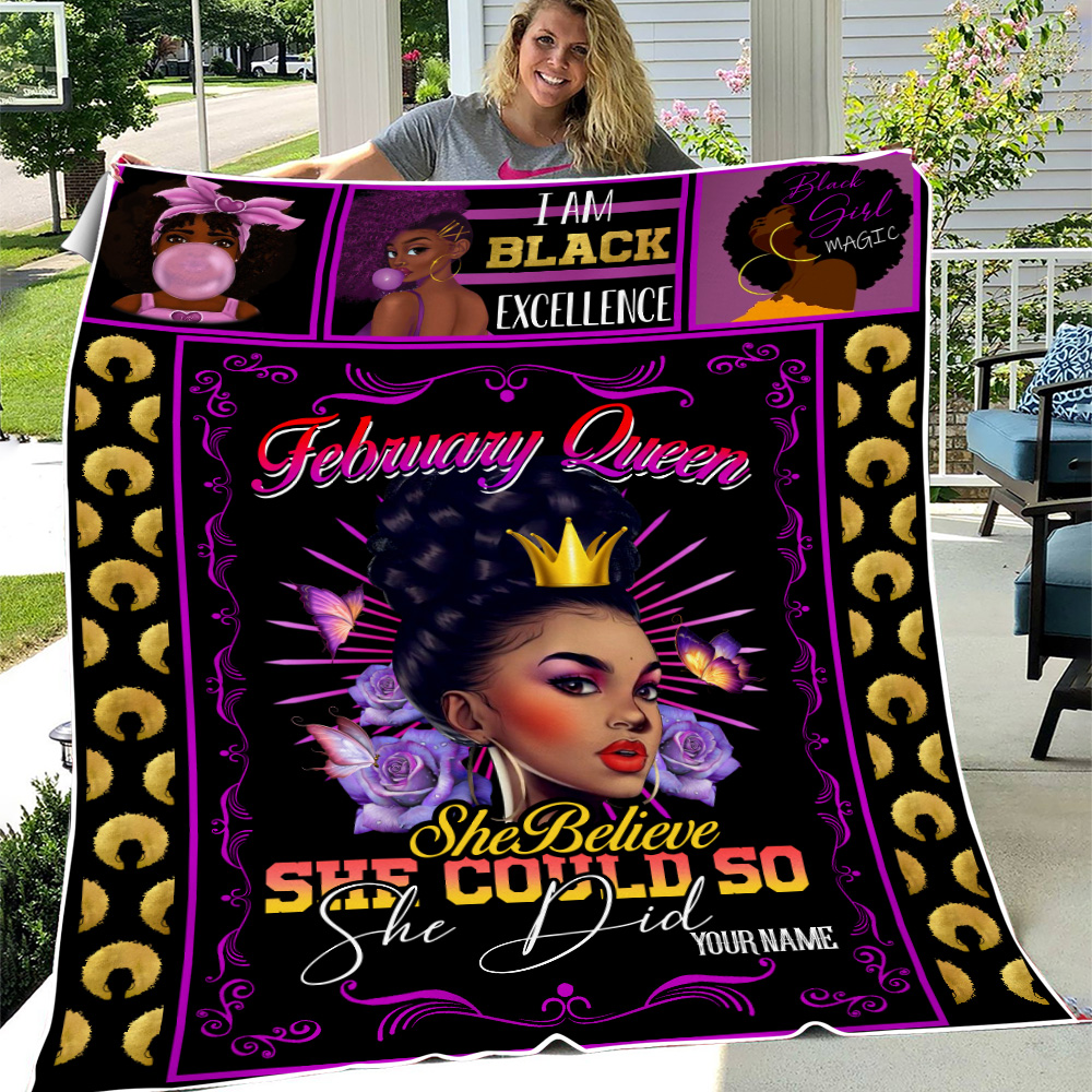 Personalized Fleece Throw Blanket February Queen She Believe She Could So She Did Pattern 1 Lightweight Super Soft Cozy For Decorative Couch Sofa Bed
