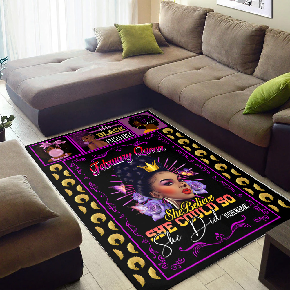 Personalized February Queen She Believe She Could So She Did Pattern 1 Vintage Area Rug Anti-Skid Floor Carpet For Living Room Dinning Room Bedroom Office