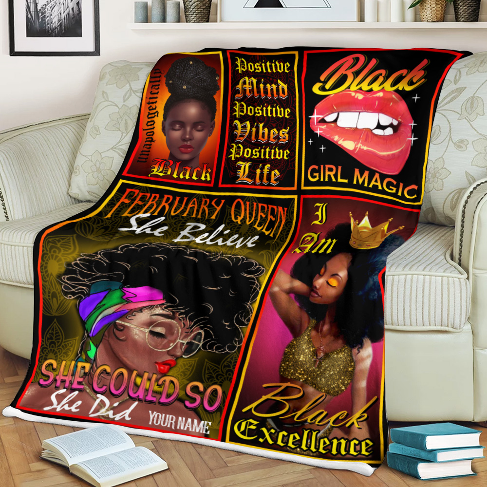 Personalized Fleece Throw Blanket February Queen She Believe She Could So She Did Pattern 2 Lightweight Super Soft Cozy For Decorative Couch Sofa Bed
