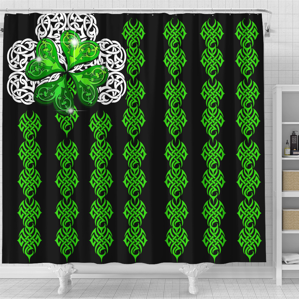 Personalized Lovely Shower Curtain St Patrick's Day Irish Clover Pattern 1 Set 12 Hooks Decorative Bath Modern Bathroom Accessories Machine Washable