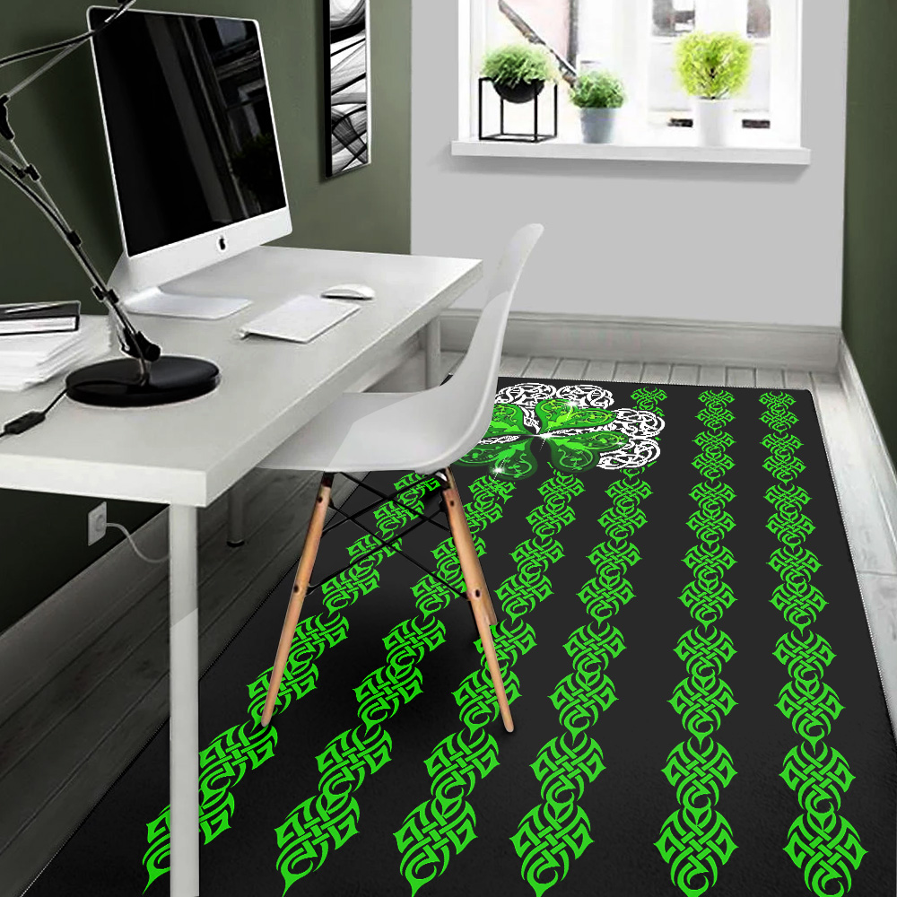 Personalized Lovely St Patrick's Day Irish Clover Pattern 1 Vintage Area Rug Anti-Skid Floor Carpet For Living Room Dinning Room Bedroom Office