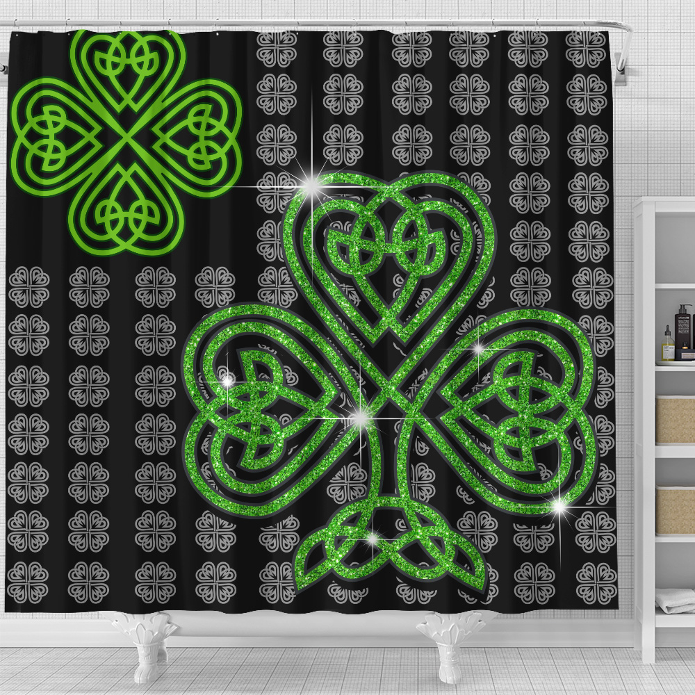 Personalized Lovely Shower Curtain St Patrick's Day Irish Clover Pattern 2 Set 12 Hooks Decorative Bath Modern Bathroom Accessories Machine Washable