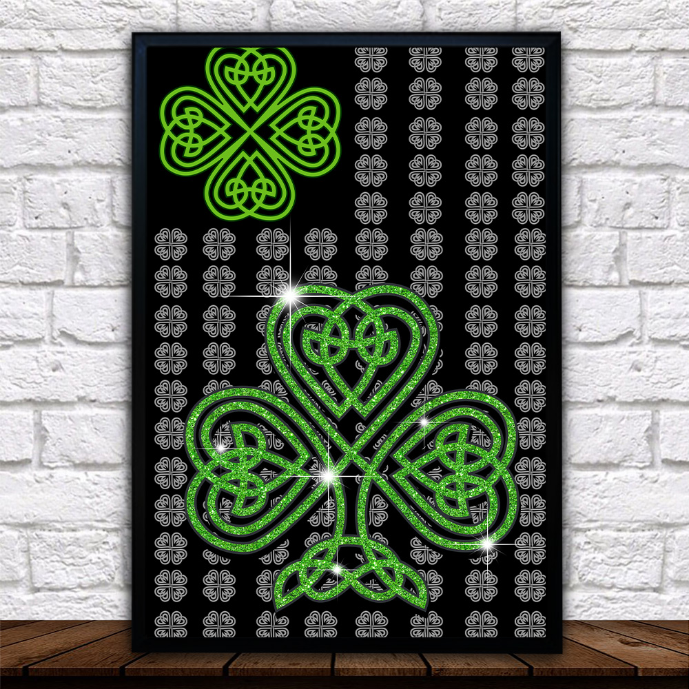 Personalized Lovely Wall Art Poster St Patrick's Day Irish Clover Pattern 2 Prints Decoracion Wall Art Picture Living Room Wall