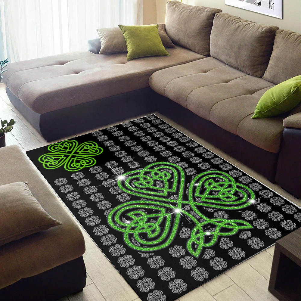 Personalized Lovely St Patrick's Day Irish Clover Pattern 2 Vintage Area Rug Anti-Skid Floor Carpet For Living Room Dinning Room Bedroom Office