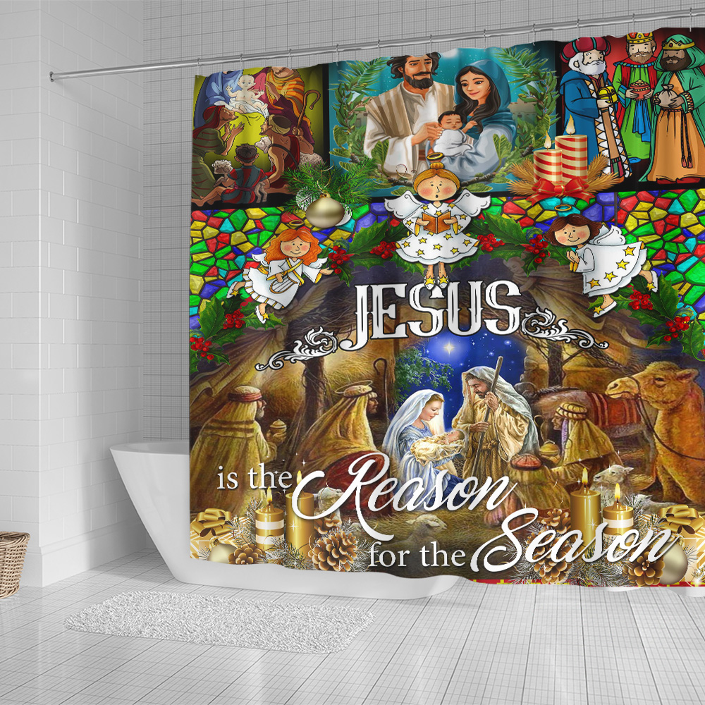 Personalized Shower Curtain 71 X 71 Inch Jesus Is The Reason For The Season Pattern 1 Set 12 Hooks Decorative Bath Modern Bathroom Accessories Machine Washable