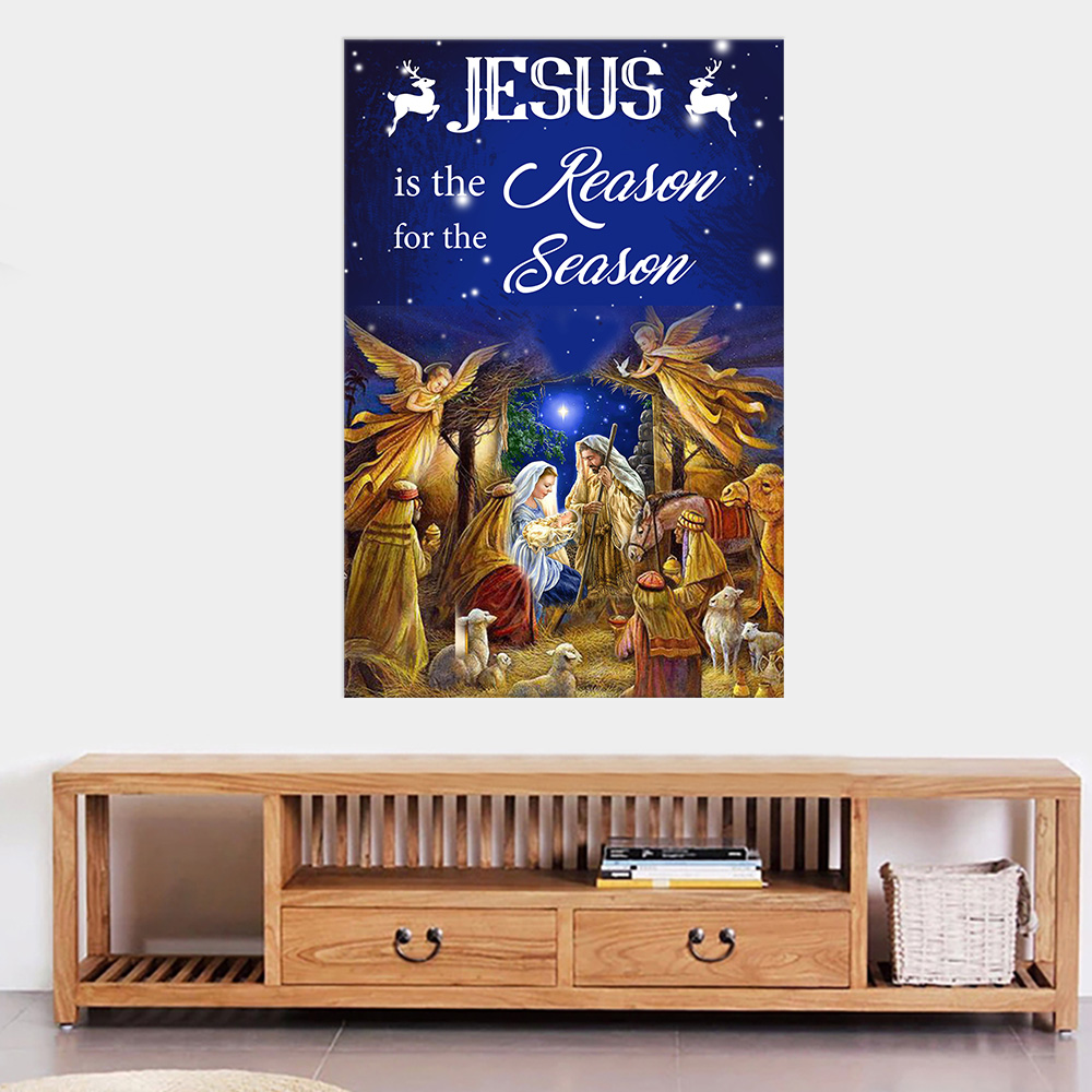 Personalized Wall Art Poster Canvas 1 Panel Jesus Is The Reason For The Season Pattern 1 Great Idea For Living Home Decorations Birthday Christmas Aniversary