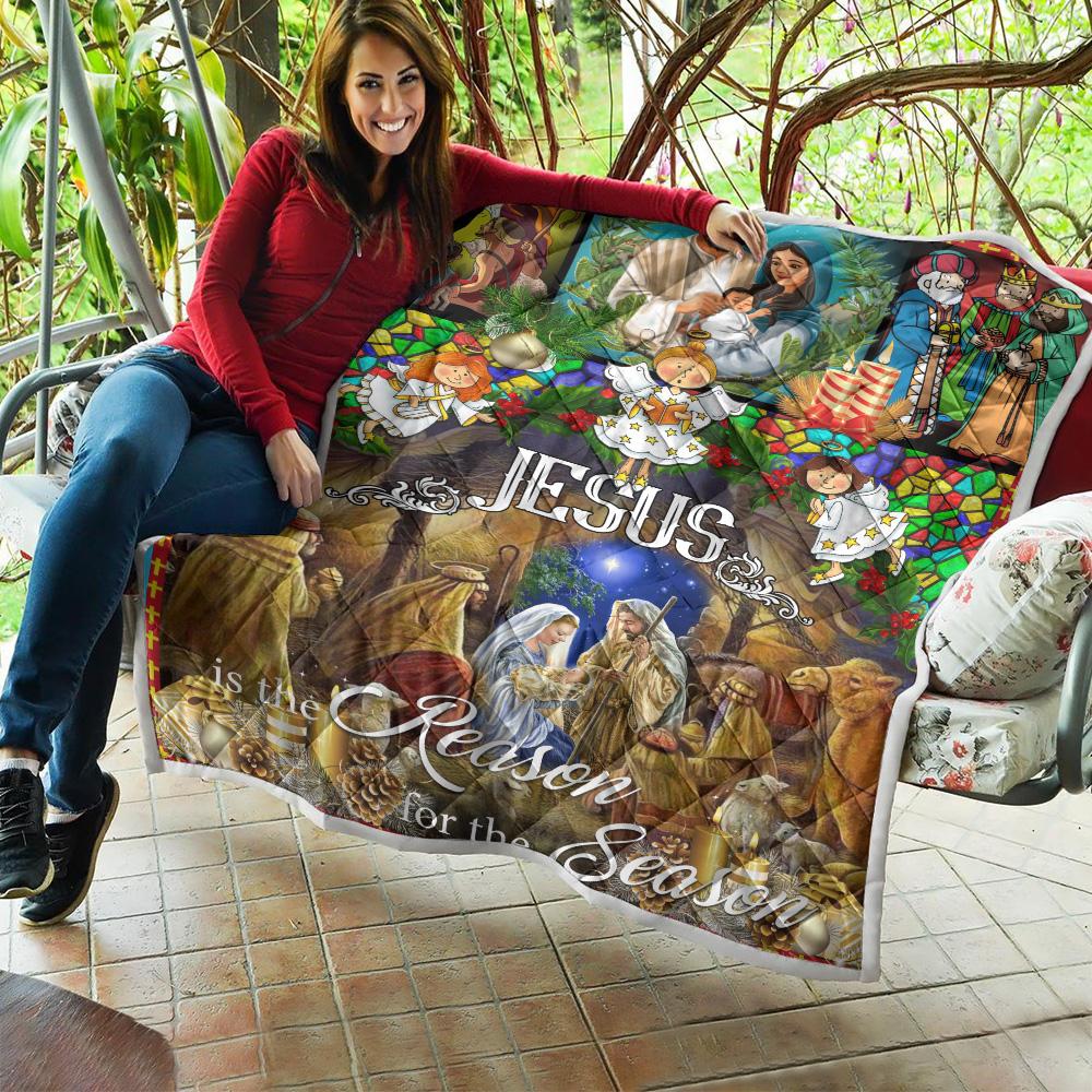 Personalized Quilt Throw Blanket Jesus Is The Reason For The Season Pattern 1 Lightweight Super Soft Cozy For Decorative Couch Sofa Bed