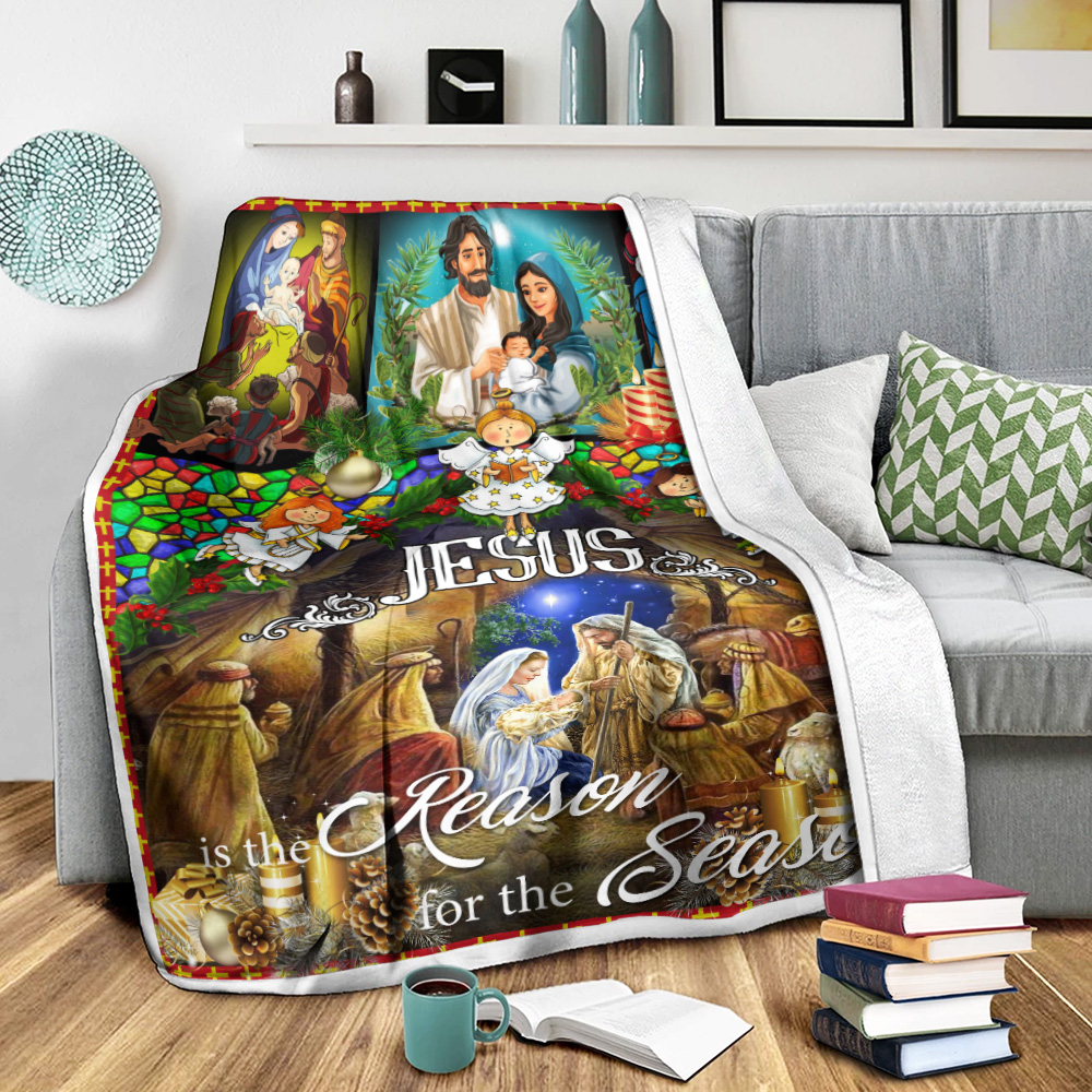 Personalized Fleece Throw Blanket Jesus Is The Reason For The Season Pattern 1 Lightweight Super Soft Cozy For Decorative Couch Sofa Bed