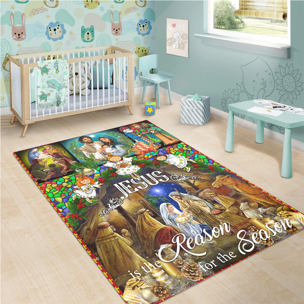 Personalized Floor Area Rugs Jesus Is The Reason For The Season Pattern 1 Indoor Home Decor Carpets Suitable For Children Living Room Bedroom Birthday Christmas Aniversary