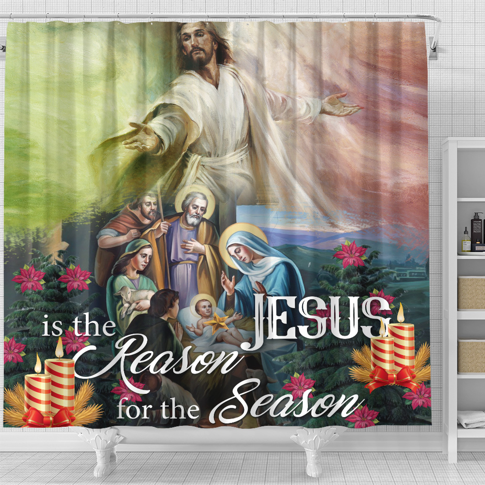Personalized Shower Curtain 71 X 71 Inch Jesus Is The Reason For The Season Pattern 2 Set 12 Hooks Decorative Bath Modern Bathroom Accessories Machine Washable