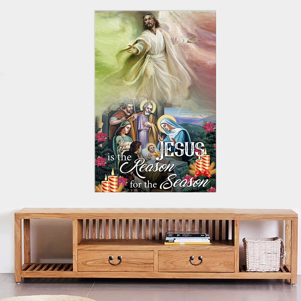 Personalized Wall Art Poster Canvas 1 Panel Jesus Is The Reason For The Season Pattern 2 Great Idea For Living Home Decorations Birthday Christmas Aniversary