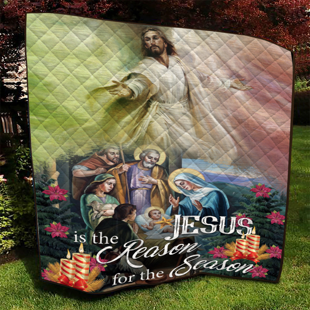 Personalized Quilt Throw Blanket Jesus Is The Reason For The Season Pattern 2 Lightweight Super Soft Cozy For Decorative Couch Sofa Bed