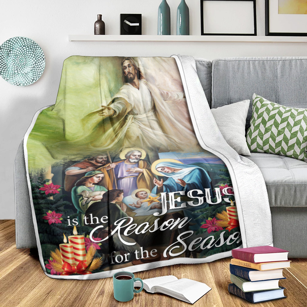 Personalized Fleece Throw Blanket Jesus Is The Reason For The Season Pattern 2 Lightweight Super Soft Cozy For Decorative Couch Sofa Bed