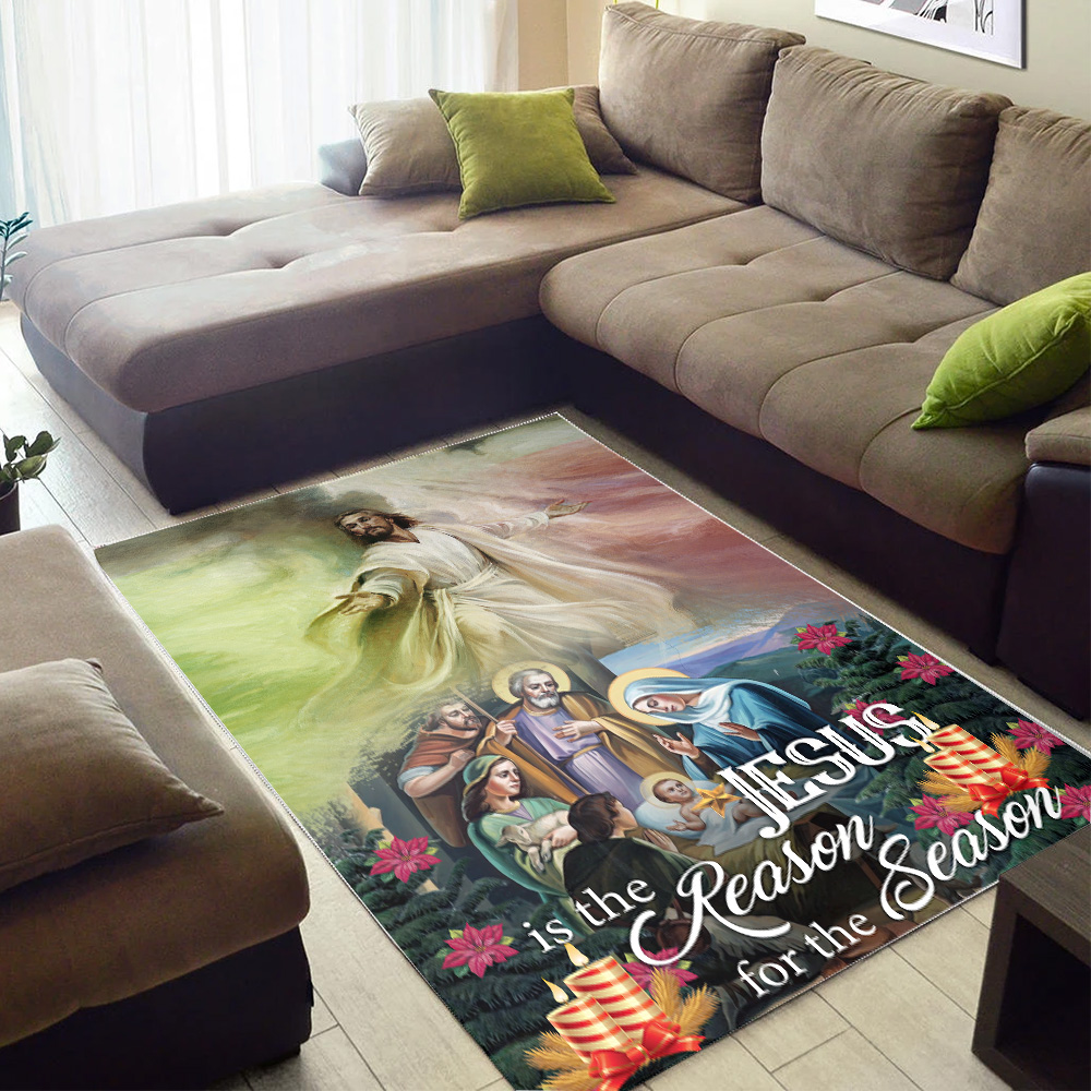 Personalized Floor Area Rugs Jesus Is The Reason For The Season Pattern 2 Indoor Home Decor Carpets Suitable For Children Living Room Bedroom Birthday Christmas Aniversary